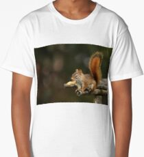 Surprised Red Squirrel With Peanut Long T-Shirt