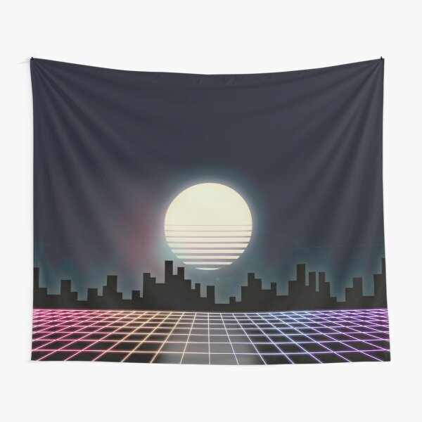 "80s Retro Grid & Full Moon - ""Rainbow Road"" Tapestry"