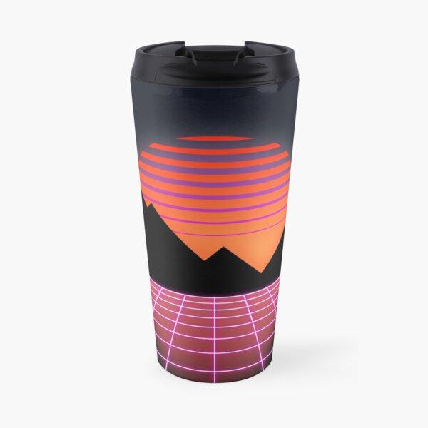 "80s Retro Grid & Rising Sun - ""Event Horizon"" Travel Mug"