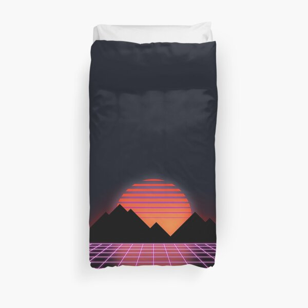 "80s Retro Grid & Rising Sun - ""Event Horizon"" Duvet Cover"