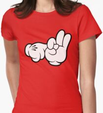 Funny Fingers. Womens Fitted T-Shirt
