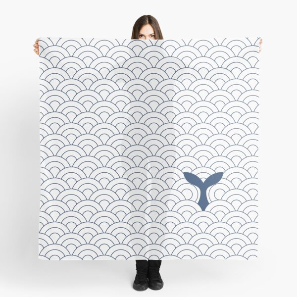 whale in waves, navy blue and white II Scarf