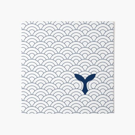 whale in waves, navy blue and white II Art Board Print
