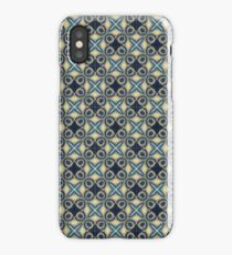 Exclusive Blue yellow repeat geometric pattern iPhone Case/Skin