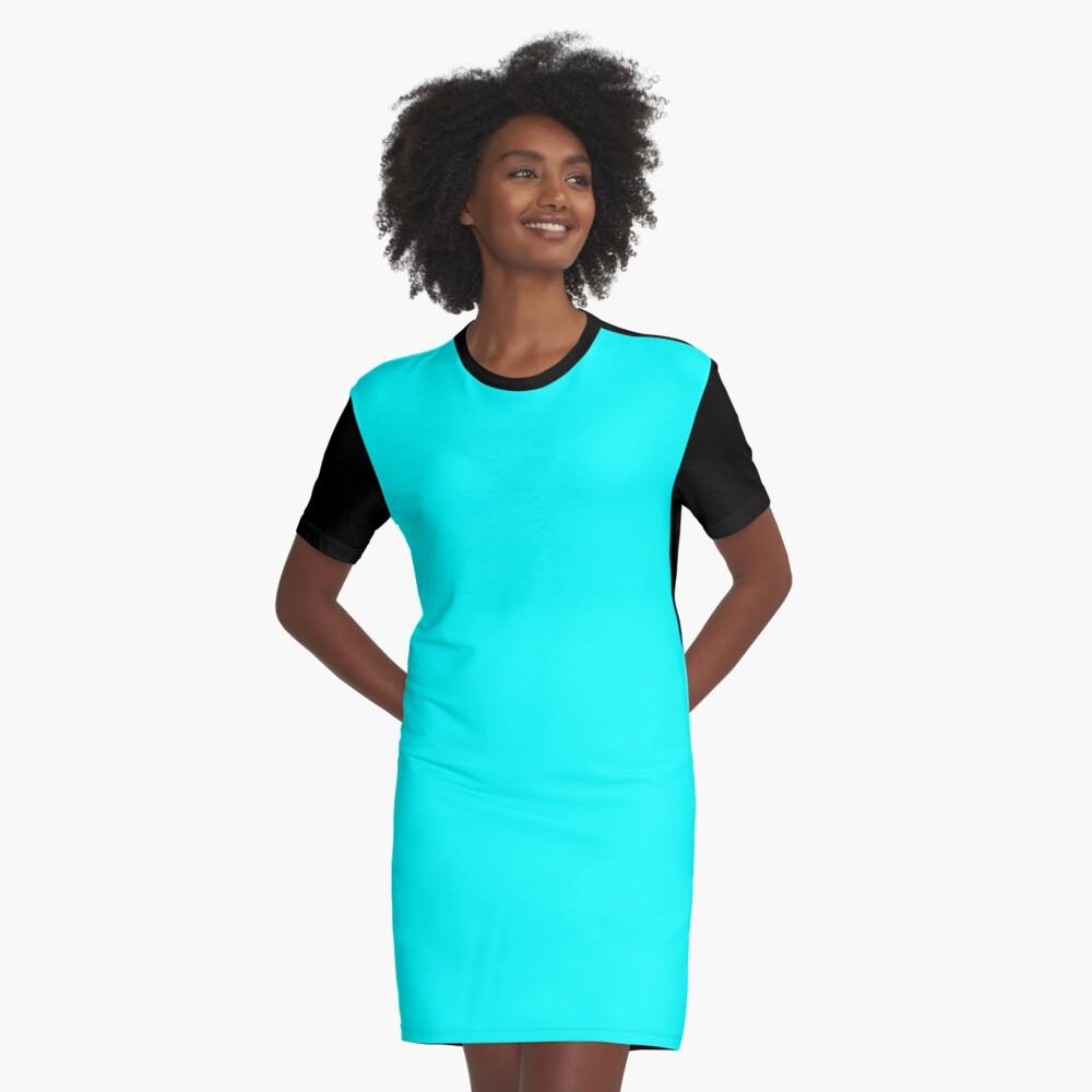 Neon Aqua Blue Bright Electric Fluorescent Color Graphic T Shirt