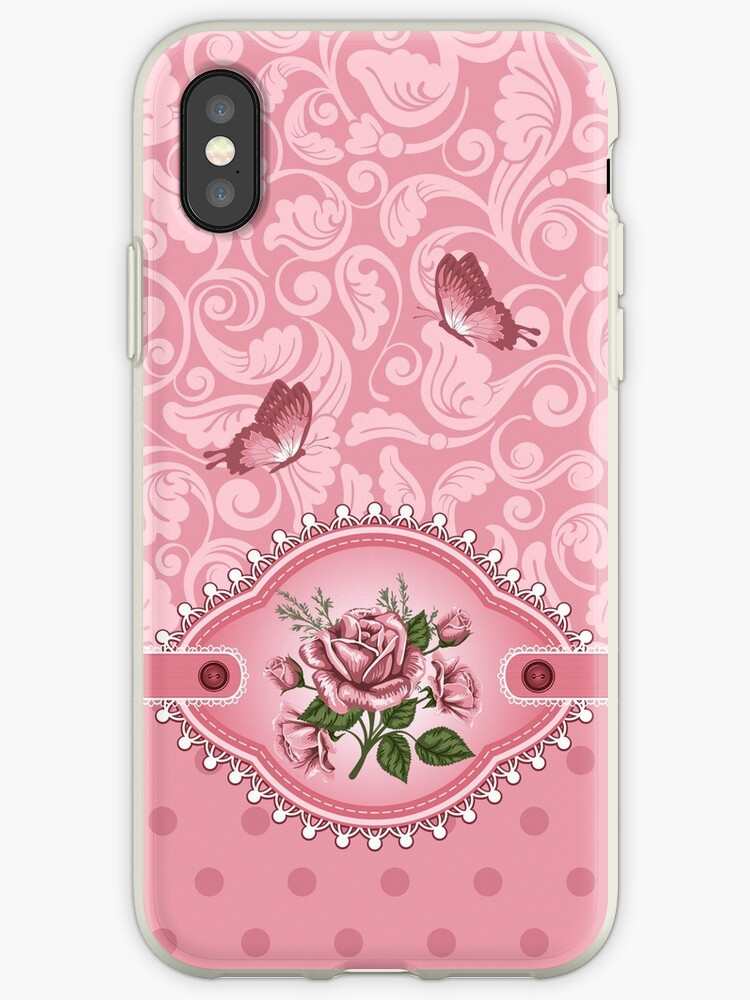 *Cute Girly Pink* Dots Damask Pattern Rose iPhone  Case by CroDesign
