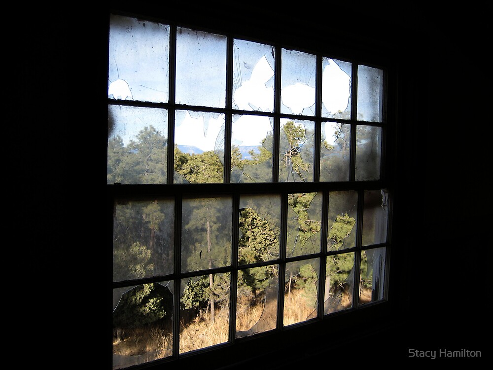 View out of groomsman quarters in old High Mesa Stables by Stacy Hamilton