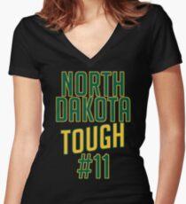 North Dakota State Bison #11 Eagles Tough Women's Fitted V-Neck T-Shirt