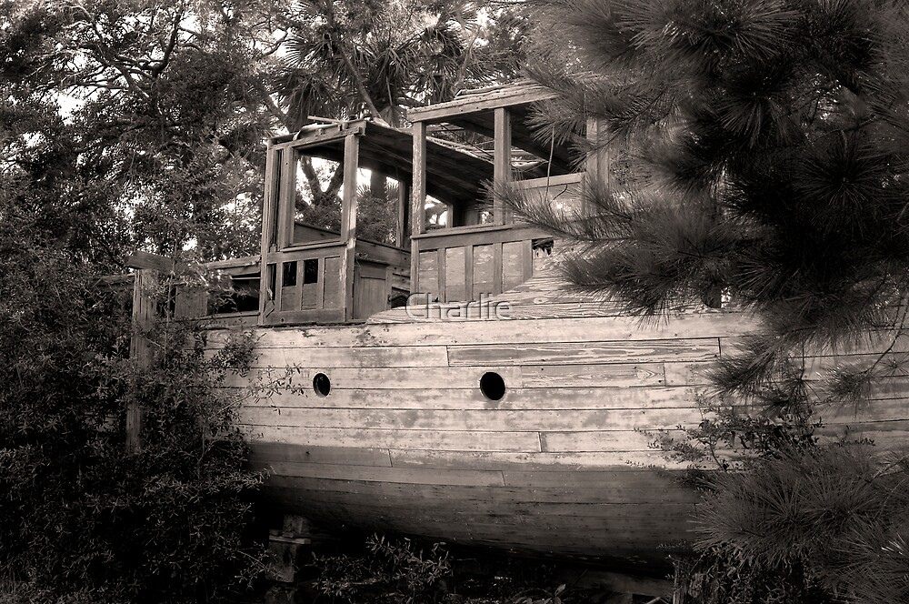 Abandoned Shrimpboat in Sepia by Charlie