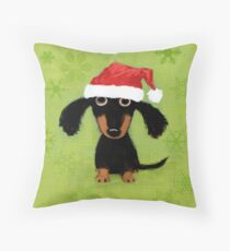Doxie Clause Santa Dachshund Throw Pillow