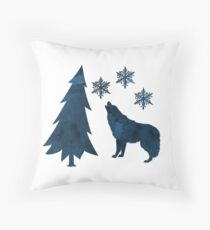 Wolf and snowflakes Throw Pillow