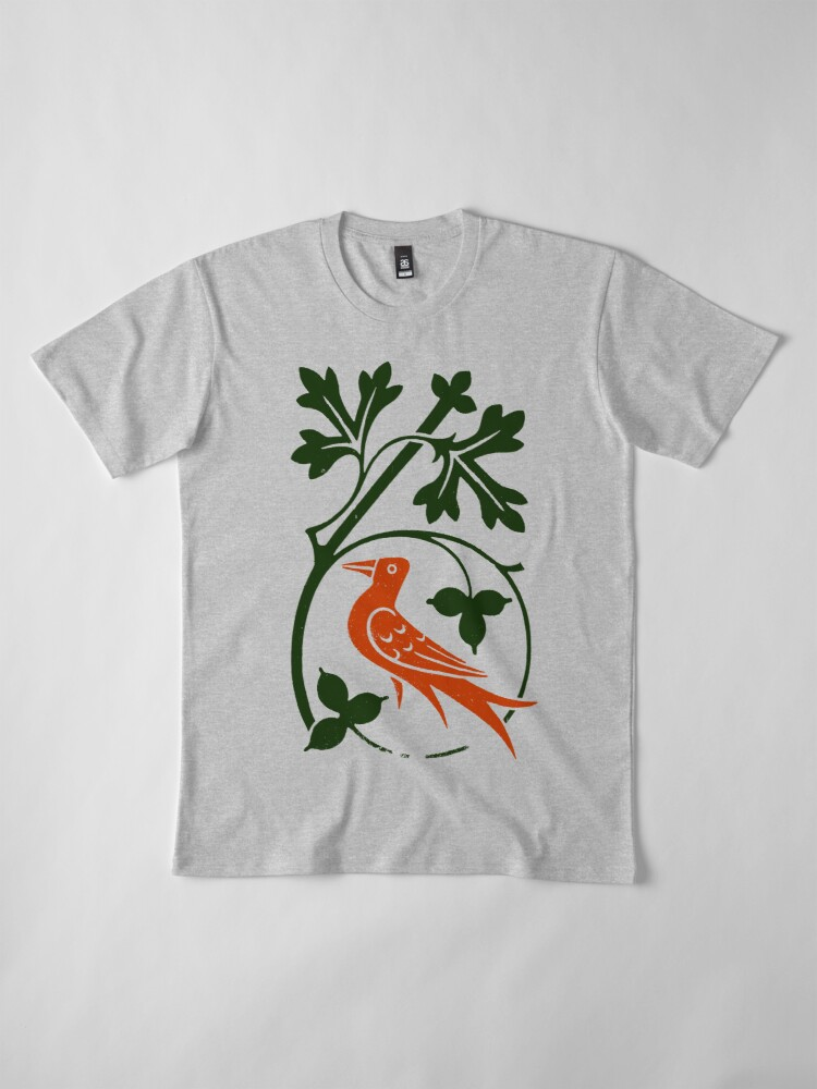 Alternate view of Woodcut birds Premium T-Shirt