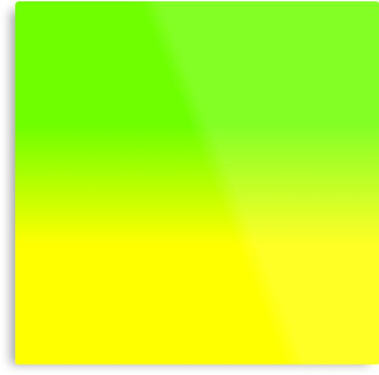 neon green and neon yellow ombré shade color fade metal prints by