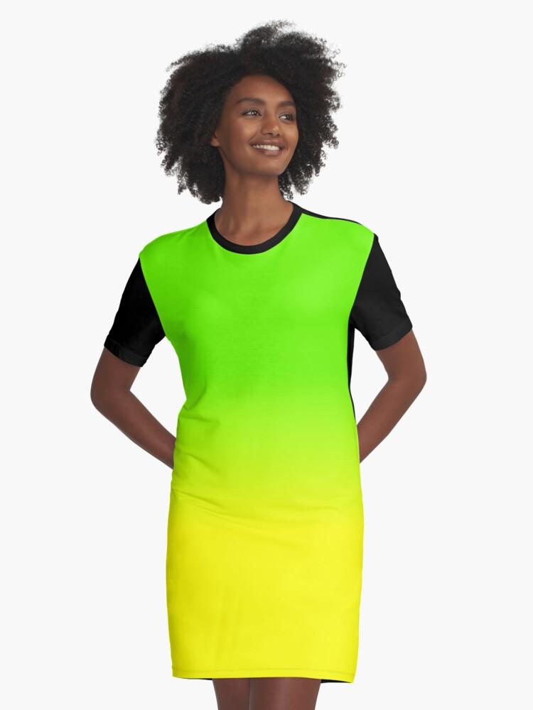Neon Green Und Neon Yellow Ombre Shade Color Fade T Shirt Kleid Von Podartist Redbubble