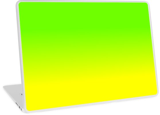 neon green and neon yellow ombré shade color fade laptop skins by