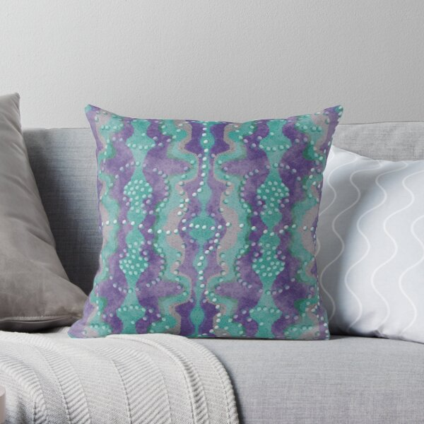 Teal and Purple boho pearls Throw Pillow