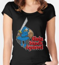 Ninja Attack Squirrel (DARK) Women's Fitted Scoop T-Shirt