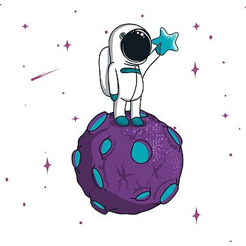 Cute Spaceman Standing on Asteroid Planet by lol-tshirts