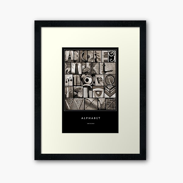 Alphabet Monochrome Poster Framed Art Print