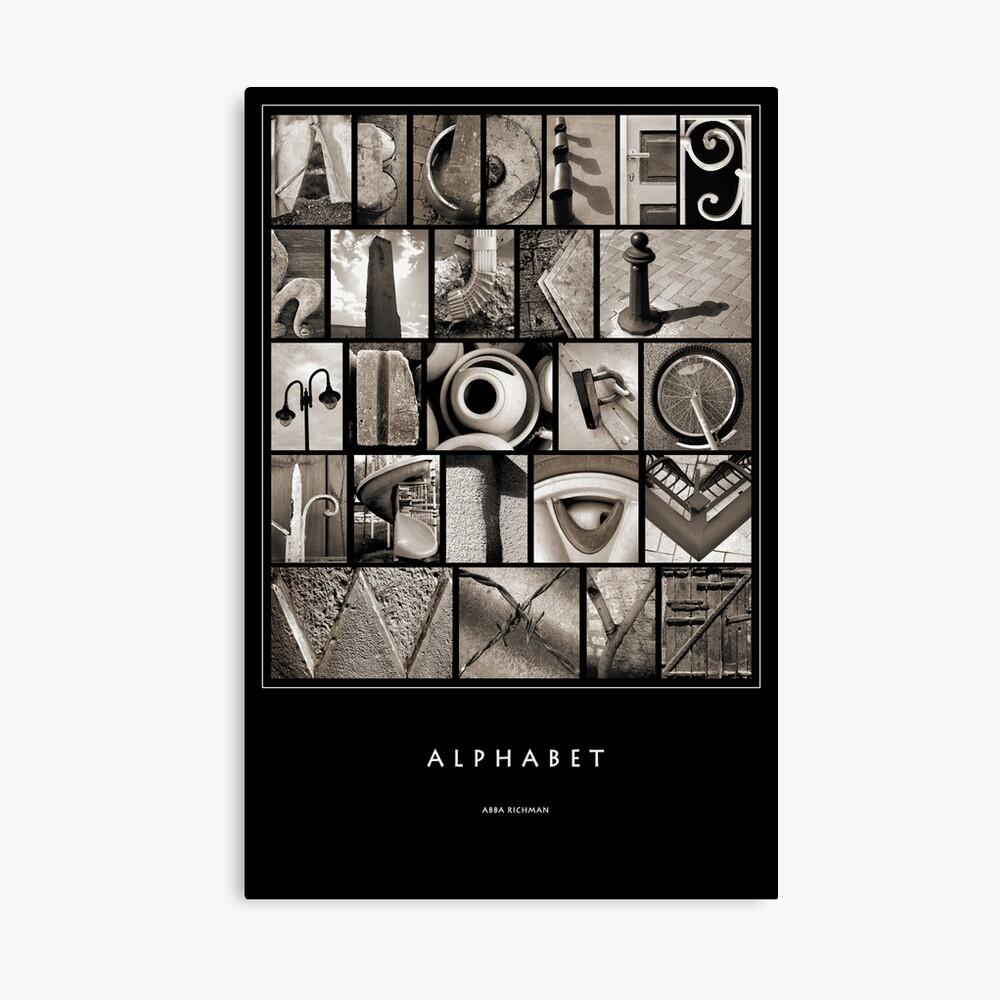 Alphabet Monochrome Poster Canvas Print
