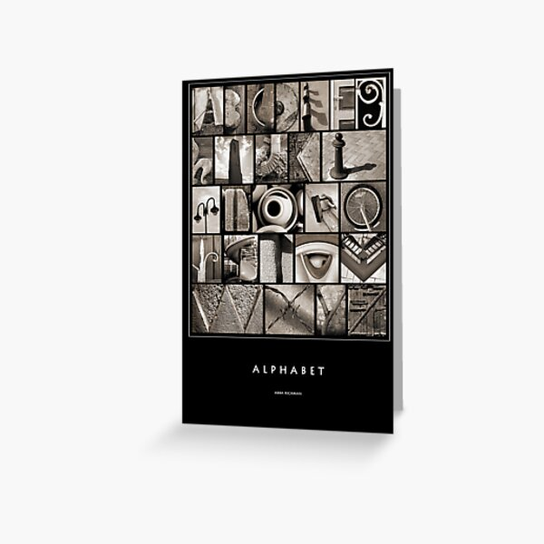 Alphabet Monochrome Poster Greeting Card