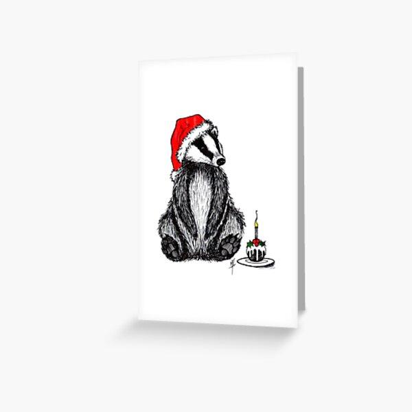 Christmas pudding badger Greeting Card