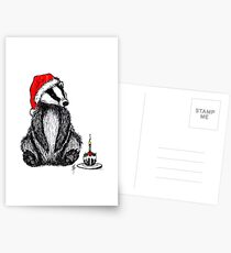 Christmas pudding badger Postcards