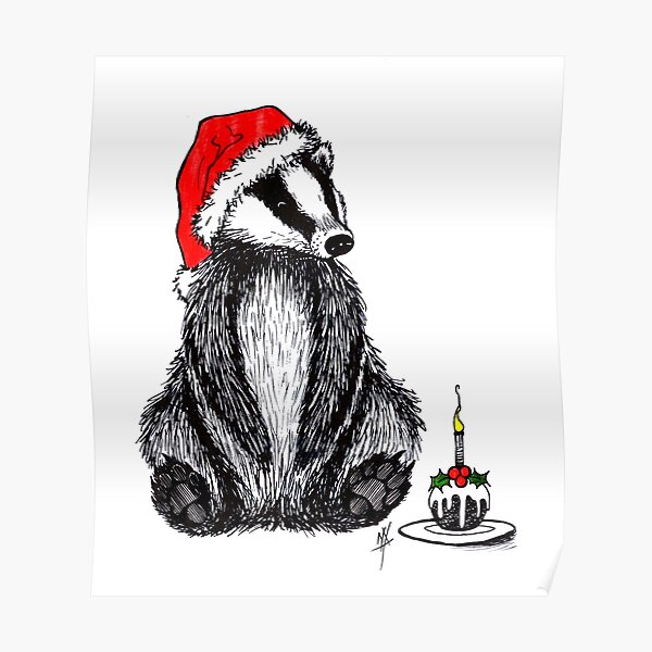 Christmas pudding badger Poster