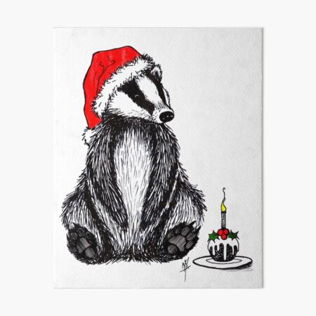 Christmas pudding badger Art Board Print