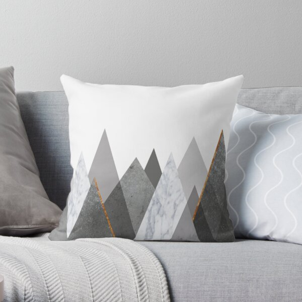 Marble Gray Copper Black and White Mountains Throw Pillow