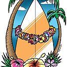 Surfing Hawaiian Garland T Shirt by Fangpunk