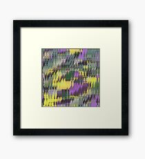 psychedelic geometric abstract pattern in green yellow purple Framed Print