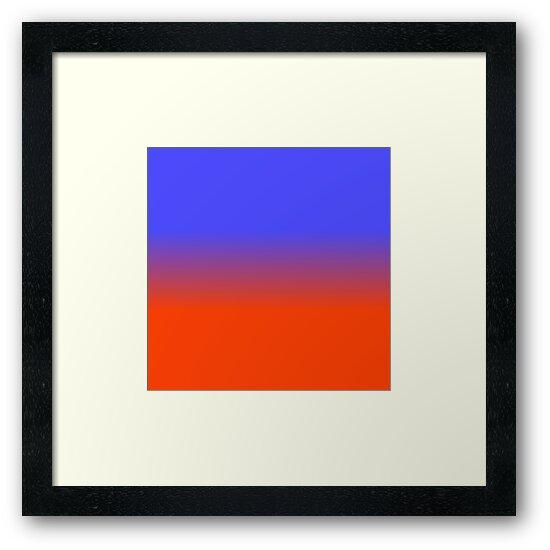 Neon Blue and Neon Orange Ombré Shade Color Fade