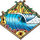 Tropical Surf T Shirt by Fangpunk