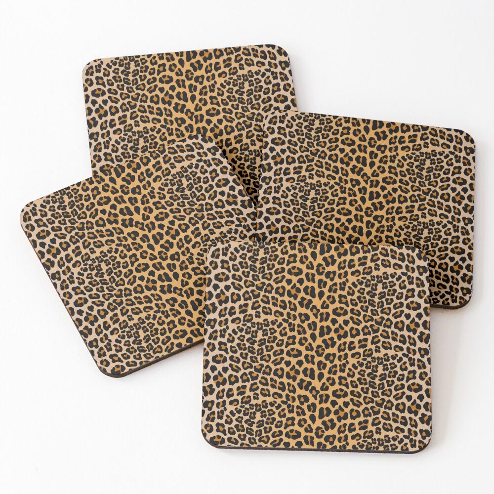 Estampado de leopardo Posavasos (lote de 4)