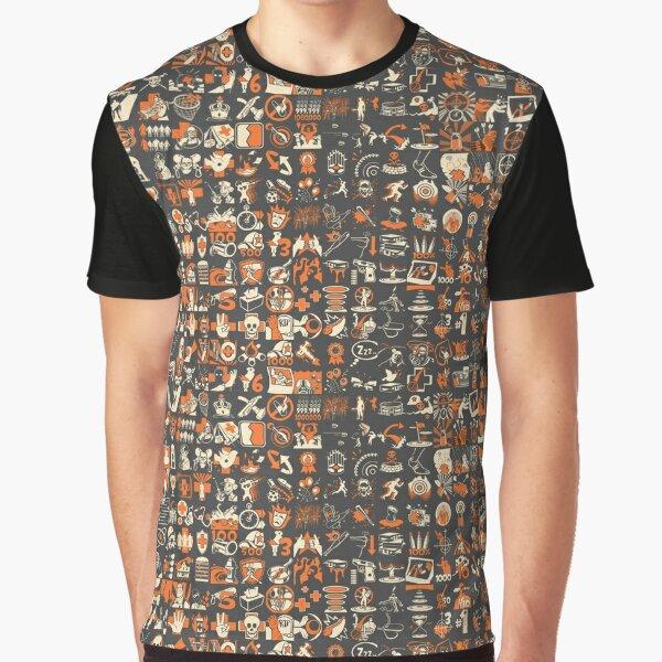 Team Fortress 2 Achievement Pattern Graphic T-Shirt