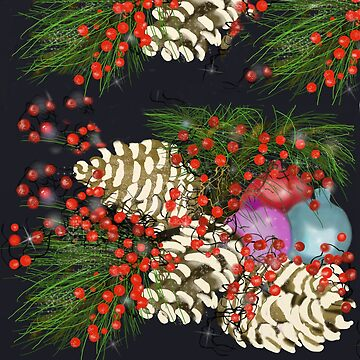 pine cones berries and ornaments by Valiante