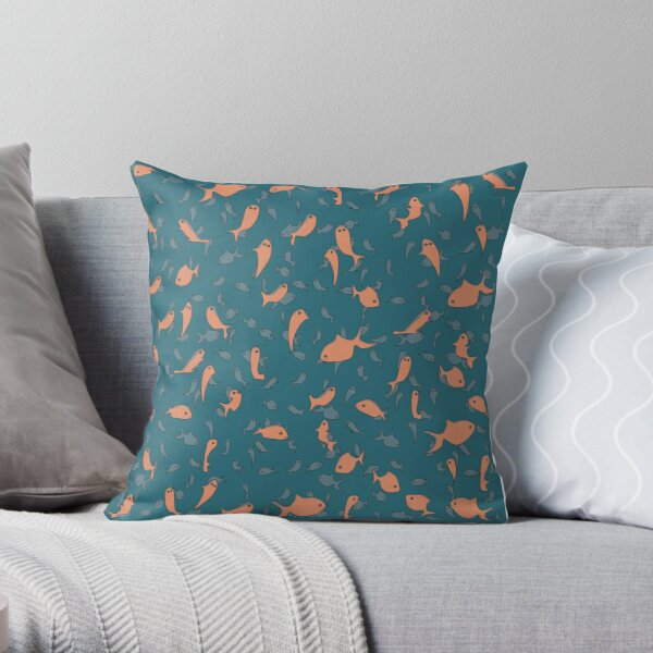 Lots of Fish Pattern Throw Pillow
