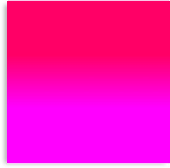 "Hot Pink And Black Bedroom Punk Girly: ""Hot Pink And Neon Pink Ombre Shade Color Fade"" Canvas"