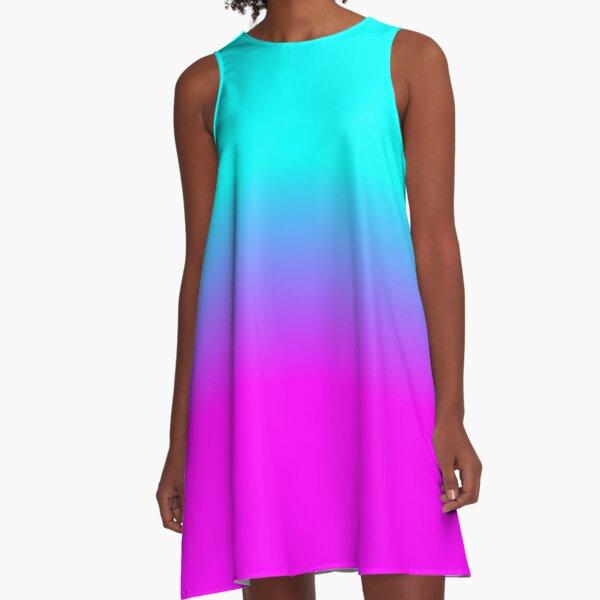 Hot Pink und Neon Aqua Blue Ombre Shade Farbe verblassen A-Linien Kleid