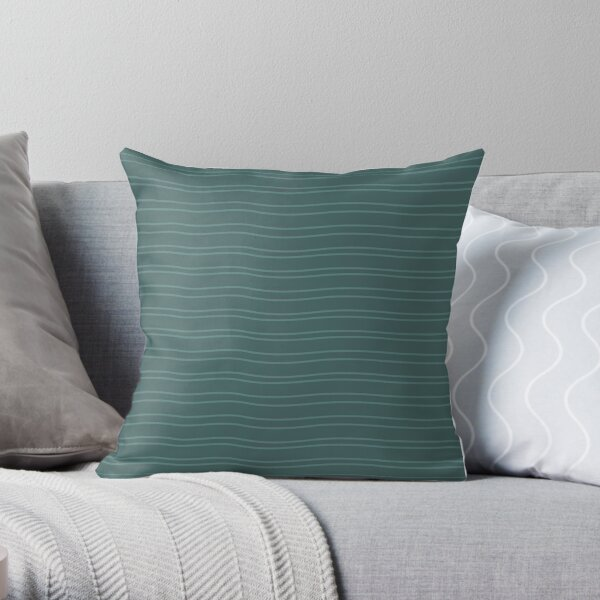 Green Water Stripe Throw Pillow