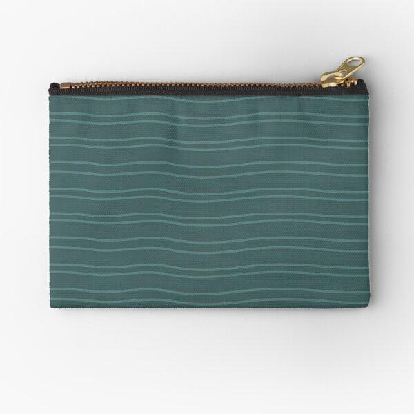 Green Water Stripe Zipper Pouch