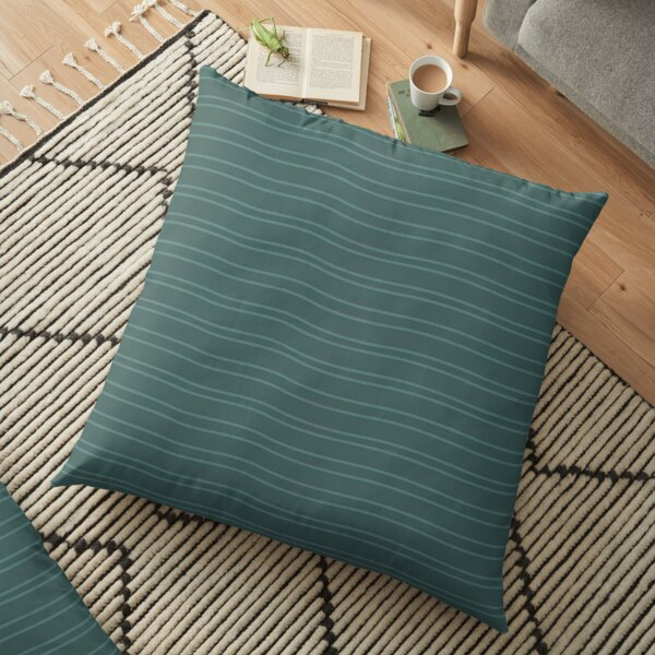 Green Water Stripe Floor Pillow