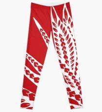 Red Polynesian Geometric Floral Chic Bird of Paradise Tribal Tattoo Leggings