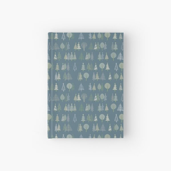 Gingerbread Trees - Grey - pretty winter pattern by Cecca Designs Hardcover Journal