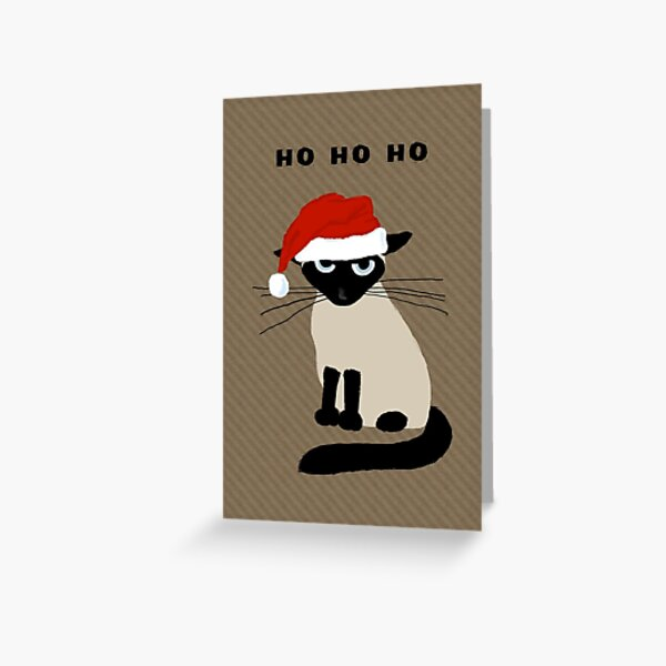 Siamese Santa | Humorous Christmas Holiday Kitty Cat Greeting Card