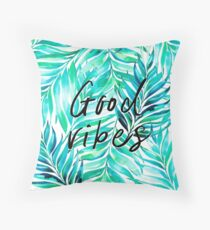 Good Vibes - Tropical Watercolor Leaves Throw Pillow