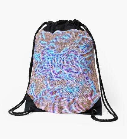 Ghost Cat Drawstring Bag