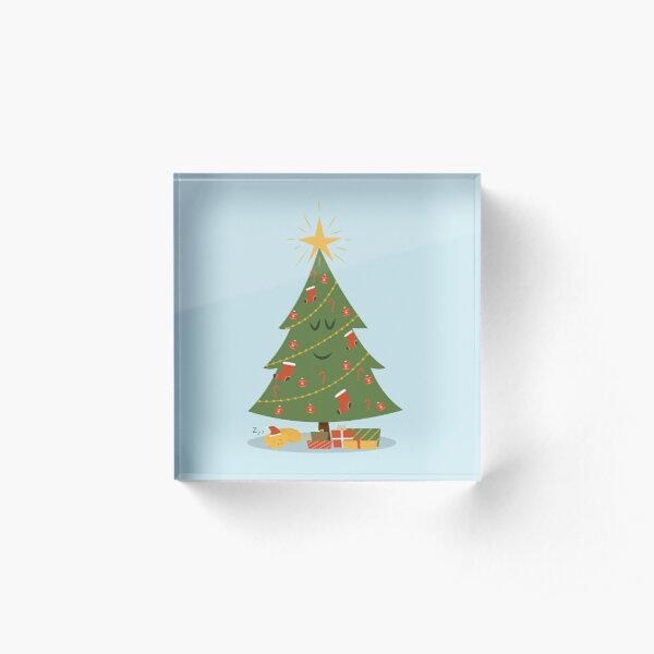The Christmas Tree and The Cat Acrylic Block