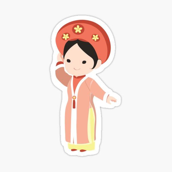 Robe de mariée traditionnelle vietnamienne Sticker